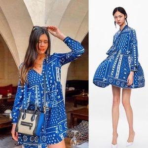 Zara Short Printed Blue Dress sz 7901/049 sz Med
